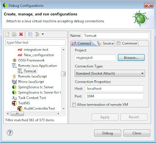 JMeze - a selection of software bytes: Debug Tomcat Windows