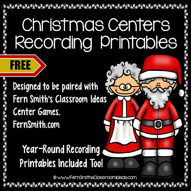 Freebie Friday Christmas Centers Recording Worksheets at TeacherspayTeachers by Fern Smith of #FernSmithsClassroomIdeas