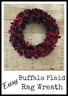 Vintage, Paint and more... a buffalo plaid rag wreath made easily with fabric strips tied to a wire wreath form