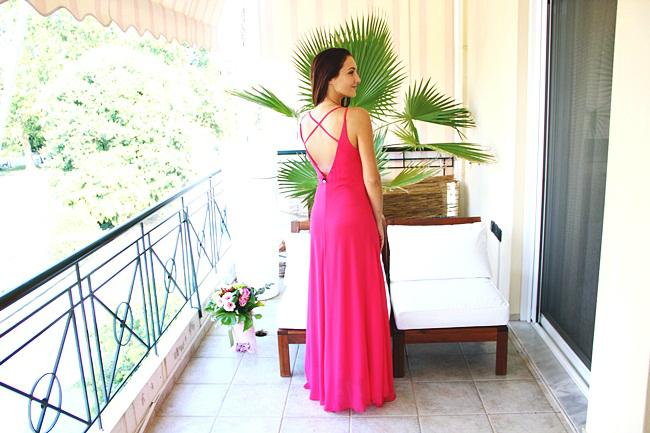 pink open criss cross back maxi dress