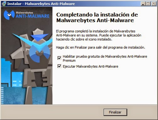 Fin de instalacíon Malwarebytes