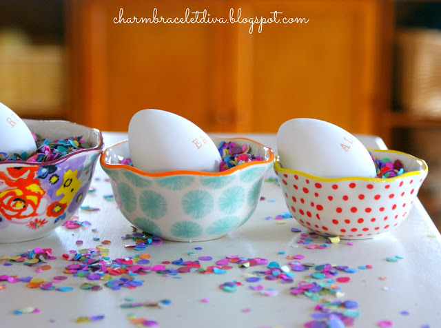 Hand stamped Easter eggs in Pioneer Woman measuring cups