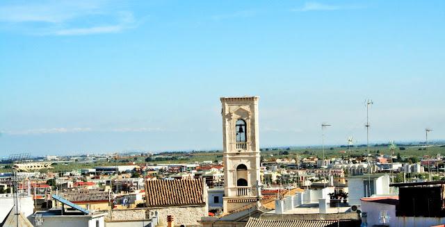 cielo, case, paese, tetti, campanile