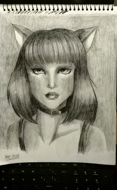 Retrato de chica gata en carboncillo