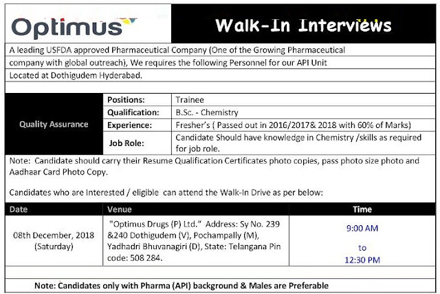 Optimus Drugs  Walk In Interview  for B.Sc Freshers at 8 December