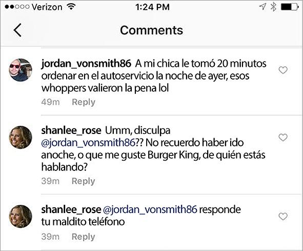 Le descubrieron su infidelidad en el Instagram de Burger King