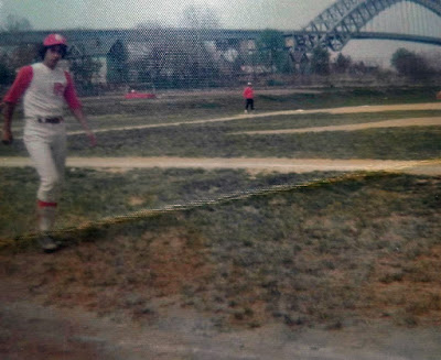 Joey Mondello playing ball with Port Richmond High School 1975. That's the Bayonne Bridge in the background.
