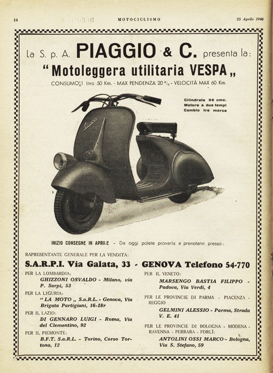 Vespa ad April 25, 1946