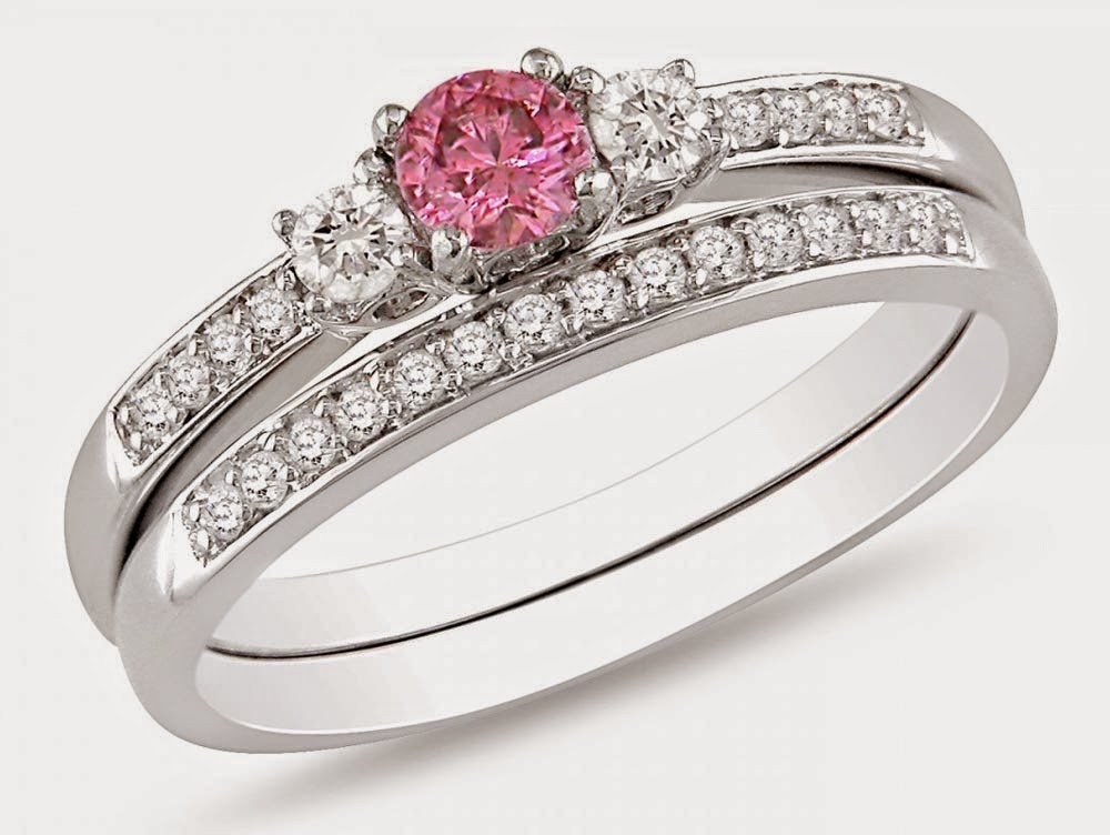 Matching Engagement and Wedding Rings Sets UK with Pink ...
