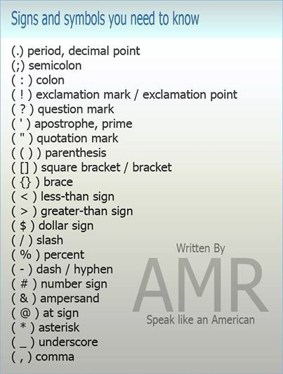 These are the different english names of punctuation marks below their uses also click on rh clickonenglishspot