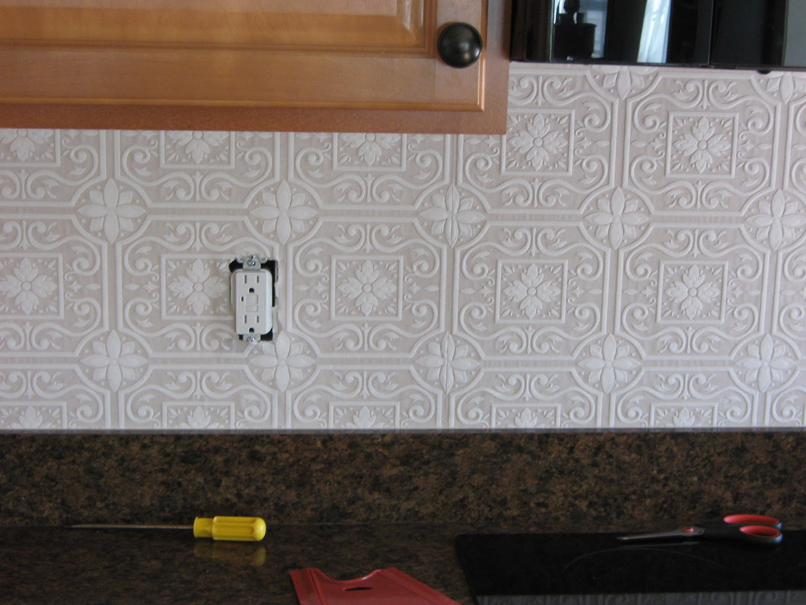 Faux tile backsplash wallpaper. fake it frugal fake punched tin ...