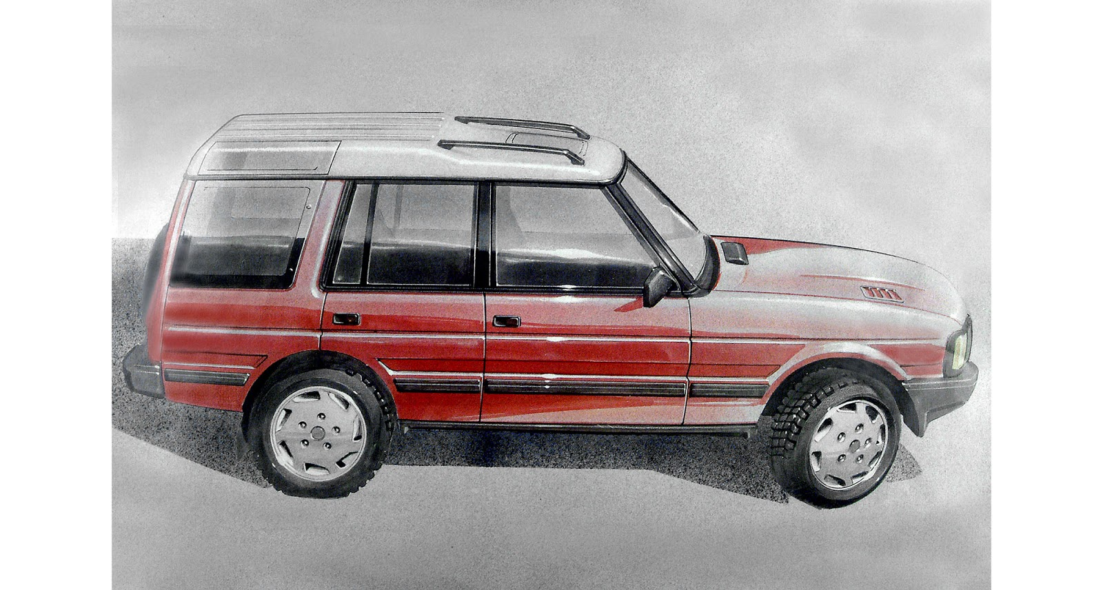 1986 sketch of the first Land Rover Discovery