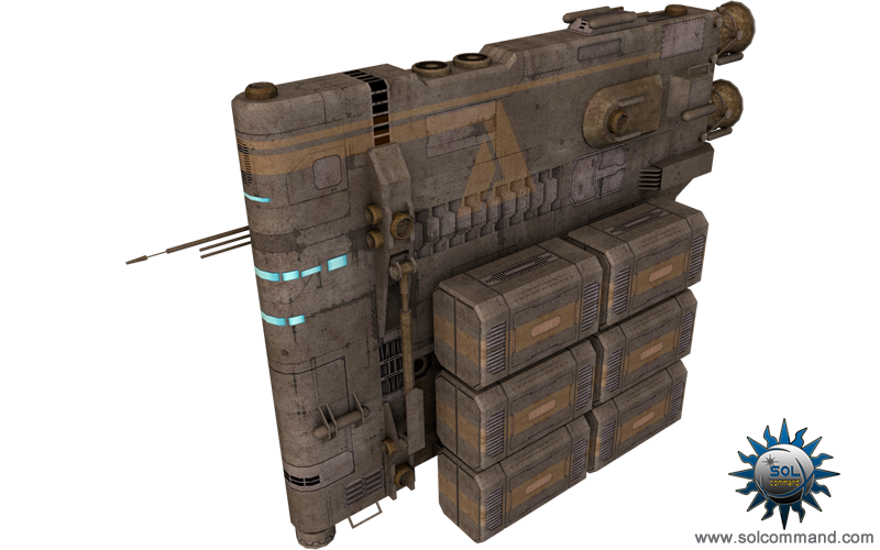 transport scifi space ship cargo crates spacecraft voland hvx-3001 mike doscher free download 3d model