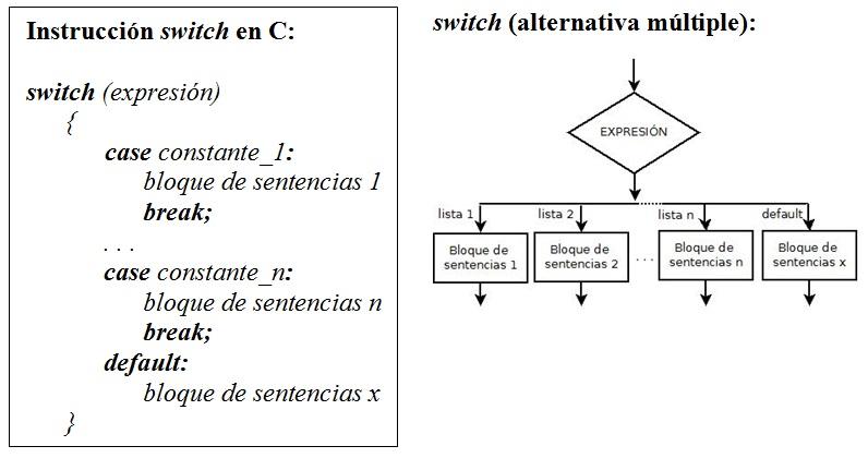 Sentencia Swicth En C Opciones Múltiples
