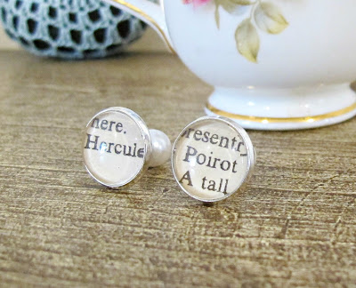 hercule poirot earrings double-sided faux pearls bookish gift bookworm two cheeky monkeys agatha christie detective jewellery