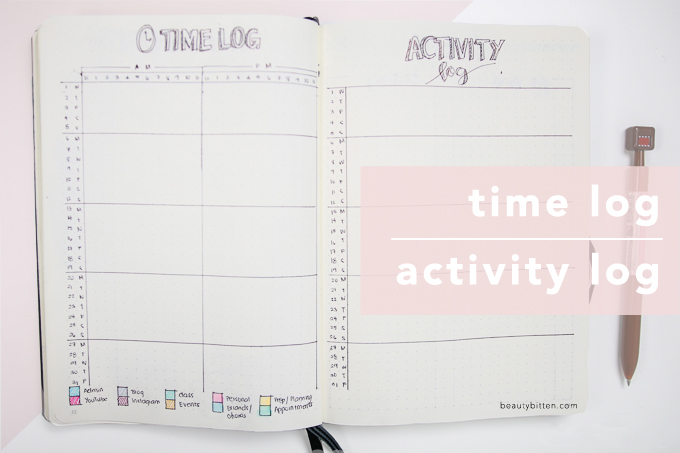 Time log, activity log bullet journal
