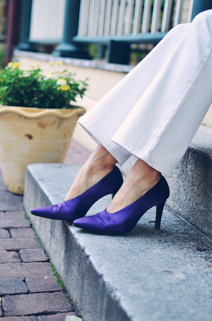 Purple shoes street style