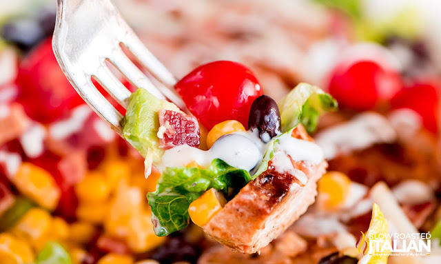 Forkful of Barbecue Chicken Salad