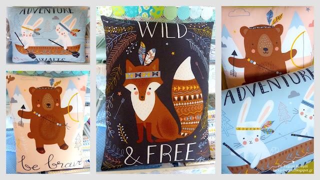 """Διακοσμητικά μαξιλάρια για παιδικό δωμάτιο """"Wild and Free pillow"""""""
