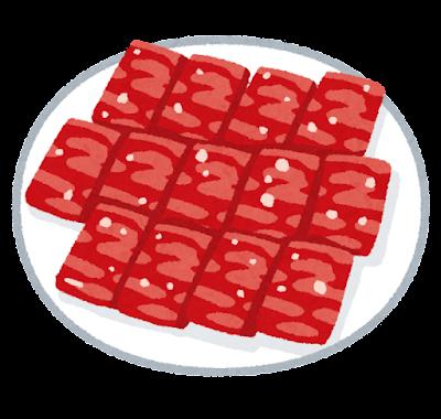 切り分けられた生肉のイラスト