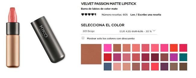 Velvet Passion Mistic Lipstick - productos más vendidos de Kiko