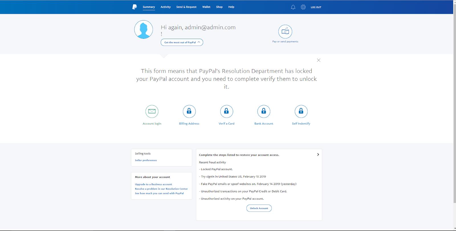 PayPal Scampage 2019 Detect Language | Panel | Blocker | Selfie ID