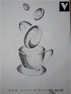 contoh gambar pointilis cangkir dan kopi