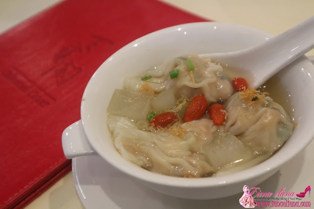 "Imperial ""Jiao Zhi"" with sun dried scallop and winter melon served in chicken consomme"