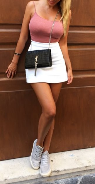 cute casual style: top + white skirt + sneakers