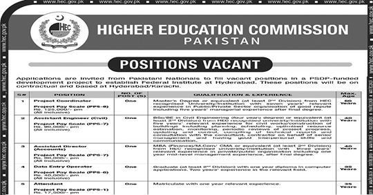 Higher Education Commission (HEC) Jobs 2020 Apply Online
