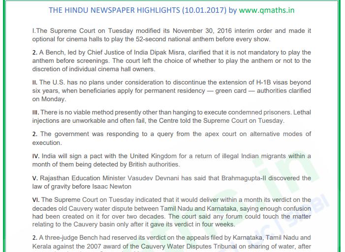 The Hindu Newspaper Summary (10-01-2018) PDF Download