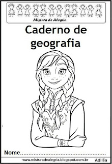 Capa para caderno geografia Frozen