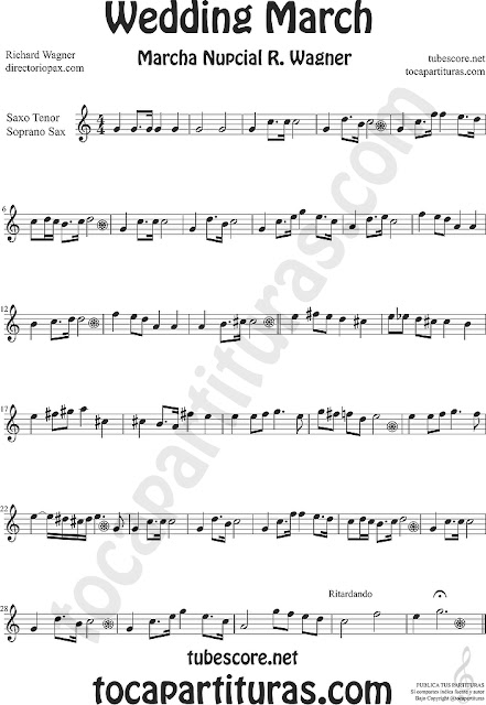Soprano Sax y Saxo Tenor Partitura de La Marcha Nupcial de Wagner Sheet Music for Soprano Sax and Tenor Saxophone Music Scores