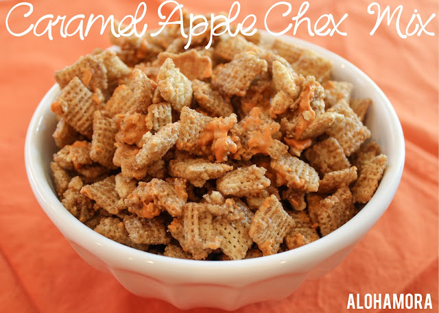 Caramel Apple Chex Mix.  Amazing richly sweet Fall deliciousness you can whip up in 15 minutes.  Make a few easy adjustments for  a gluten free Chex mix.   A favorite sweet Chex Mix.  Alohamora Open a Book http://www.alohamoraopenabook.blogspot.com/ easy, fast, quick, microwave, sweet, rich, delicious, best