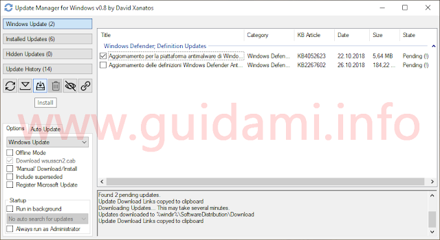 Interfaccia grafica Update Manager for Windows