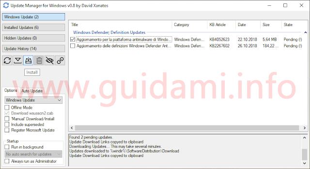 Interfaccia grafica Update Manager for Windows