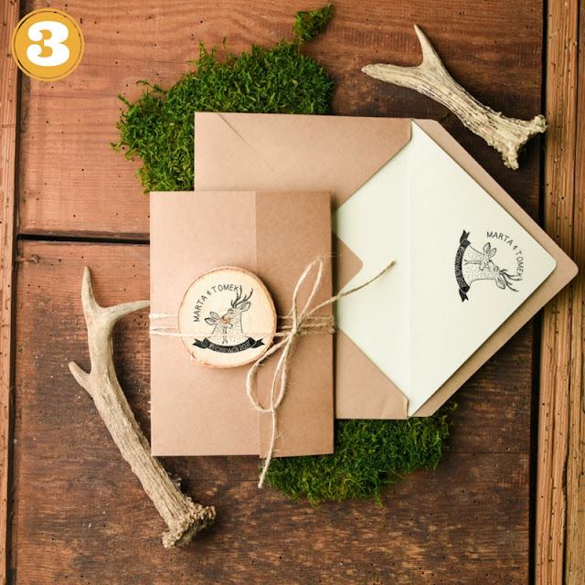 zaproszenia ślubne jeleń i sarna, leśne zaproszenia ślubne, tanie zaproszenia slubne