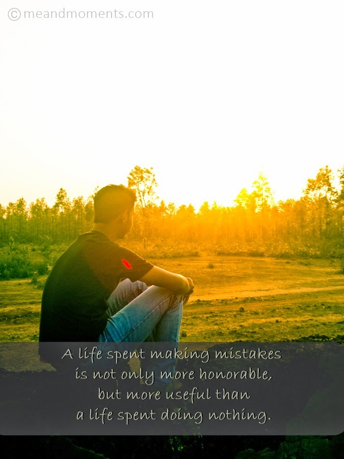 mistake quotes, life inspirations, kajal, sun set photography, pose with sunset