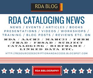 RDA CATALOGING NEWS