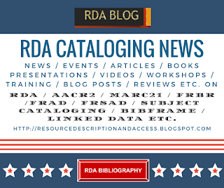 RDA Cataloging News and RDA Bibliography