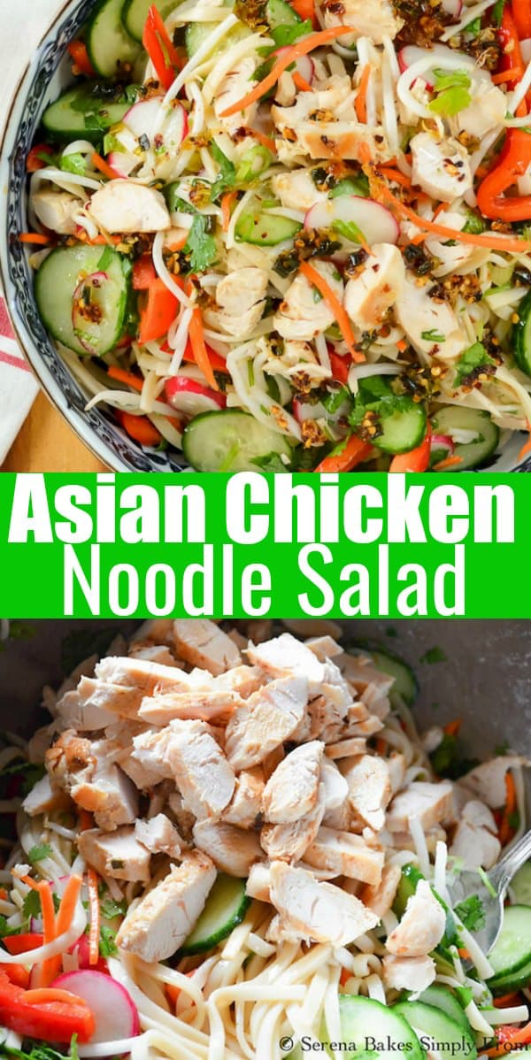 Asian Chicken Noodle Salad recipe is a favorite cold pasta salad recipe that is easy to make and healthy from Serena Bakes Simply From Scratch.