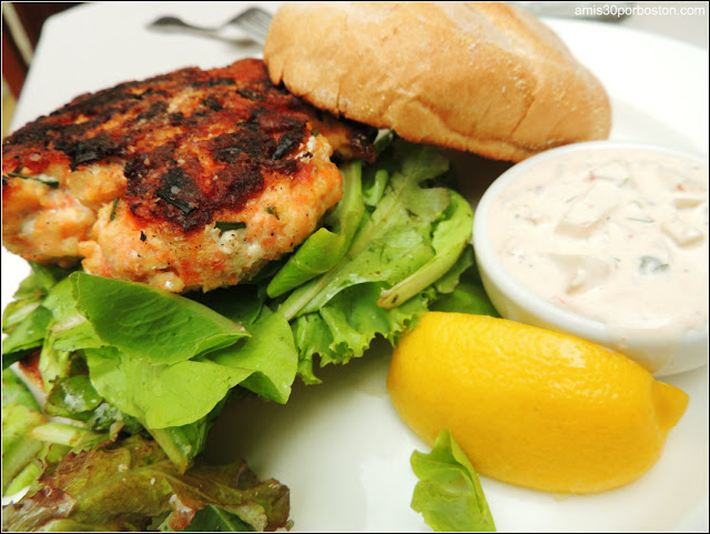Seared Salmon Burger, Baby Greens, Lemon Herb Vinaigrette, Spicy Tartar Sauce