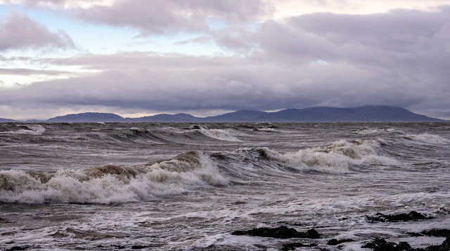 Photo of the view looking across the Solway Firth to the Scottish hills