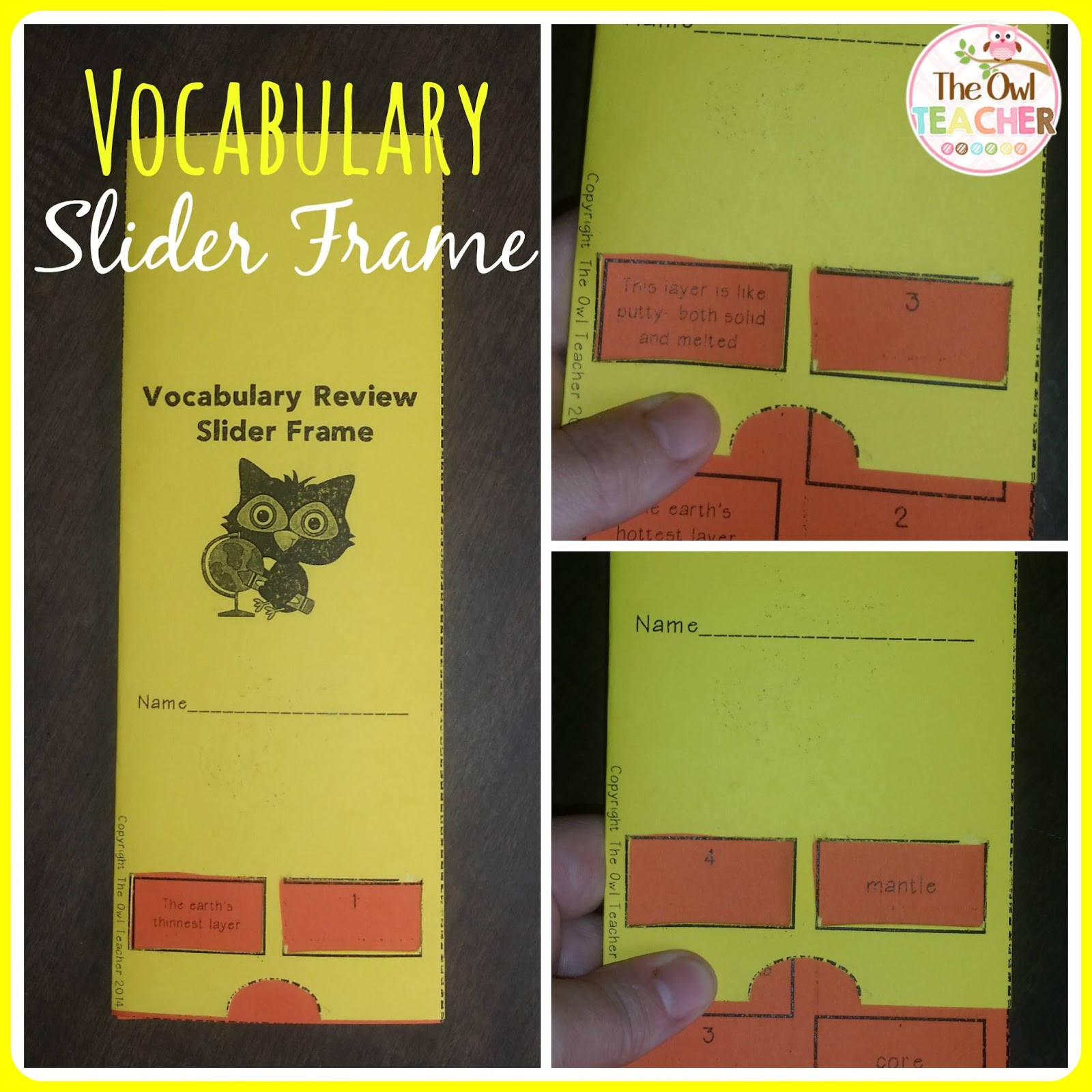Classroom Freebies Too Vocabulary Slider