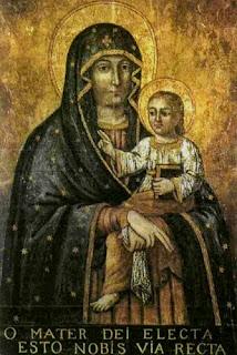 Ікона була написана на дубовій дошці розміром - 56 см на 82 см. Напис на латинській мові «О, Матір Божа. Ти наша пряма дорога (до Господа)»