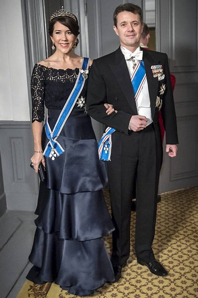 Crown Princess Mary, Princess Marie, Princess Benedikte wore diamond tiara wore gown, long satin dress