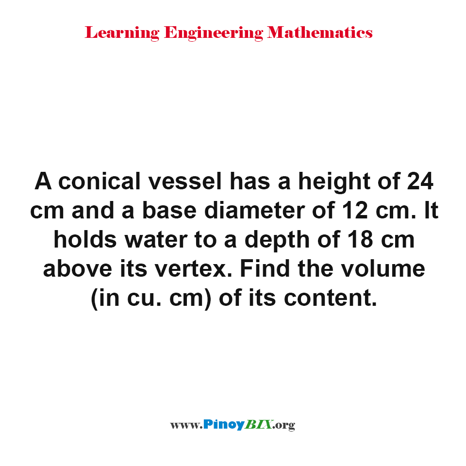 Find the volume of the content of a conical vessel