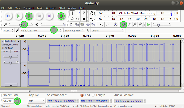 Audacity displaying an IR signal waveform