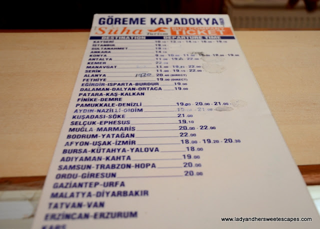 Suha Turizm bus schedule as of October 2015
