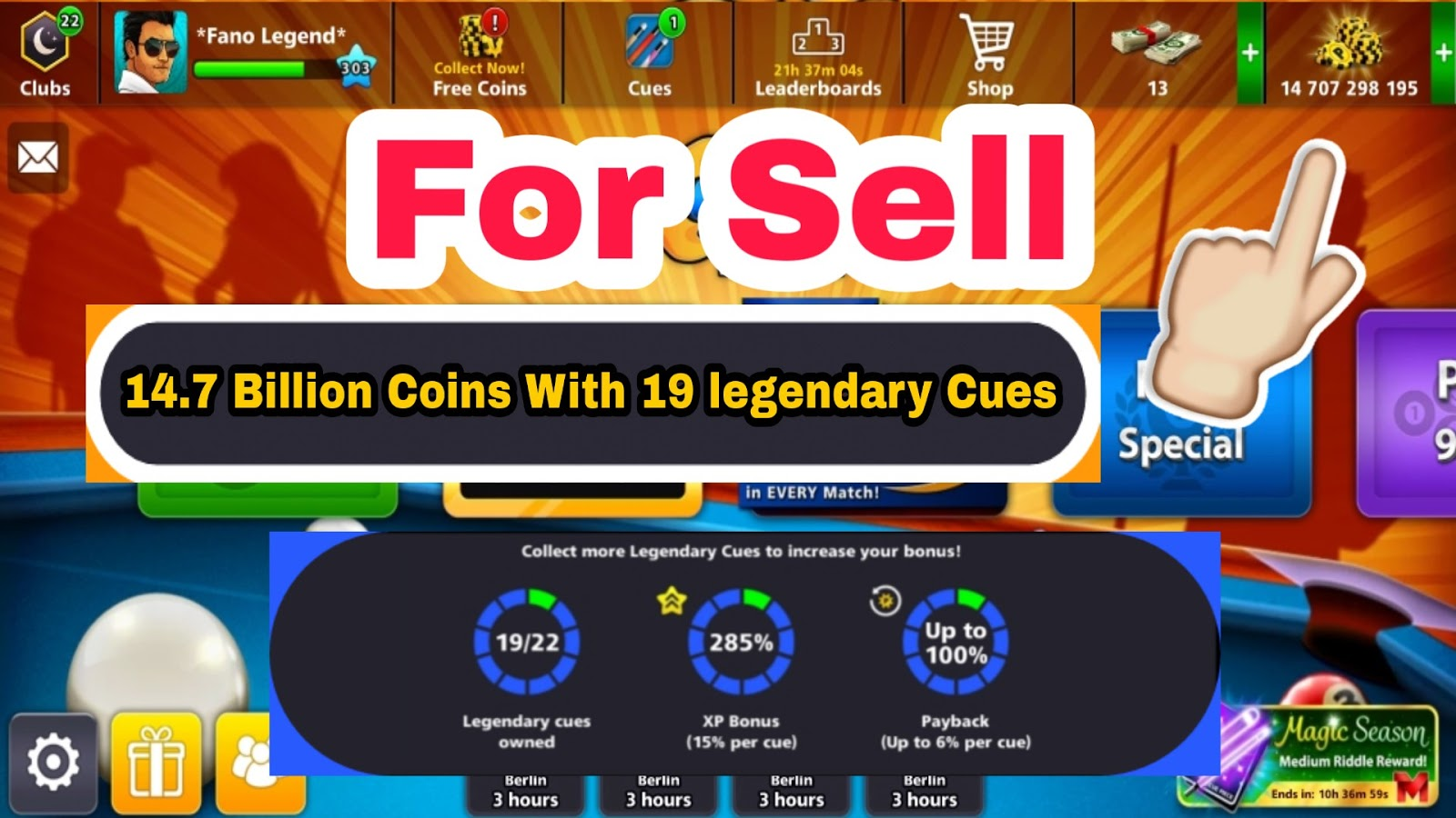 8 63 Billion Coins With 19 Legendary Cues Account For Sell